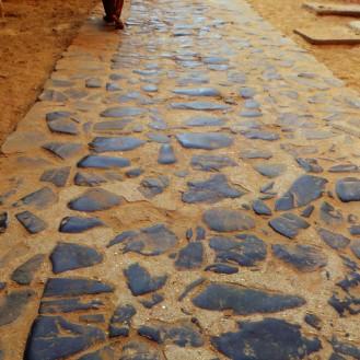 Stone walkway way of Volcanic Rocks