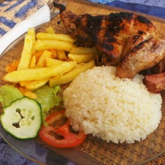 Fries, rice and Chicken