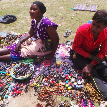 Local Sellers at the Pink Lake in Dakar