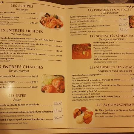 Restaurant Menu, Ndiambour Hotel, Dakar