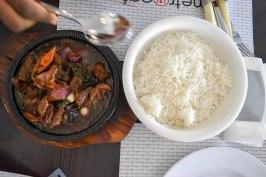 white rice and sauce