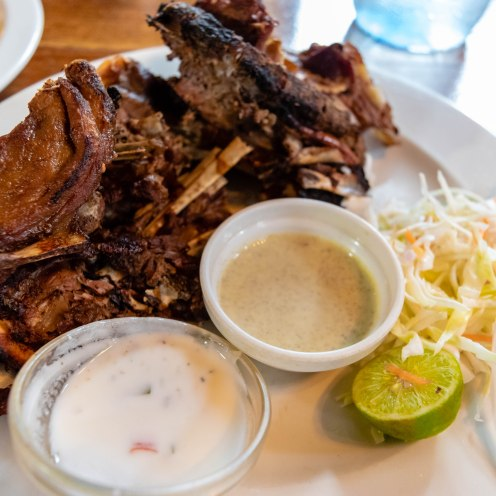 Grilled Lamb Ribs in lime, yogurt and Indian spice roasted over charcoal