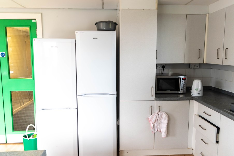 Fridge, microwave and kettle