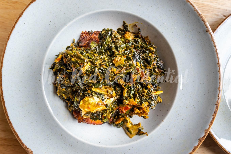 Nigerian food: A bowl of Efo Riro soup.