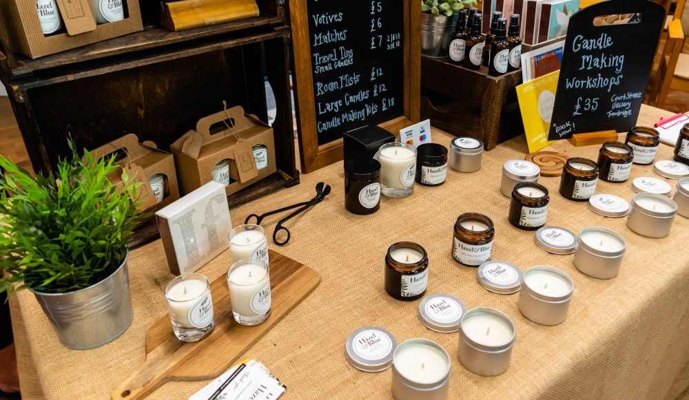 Hazel and Blue Candles Stand in Trowbridge Weavers Market: Natural soy wax candles