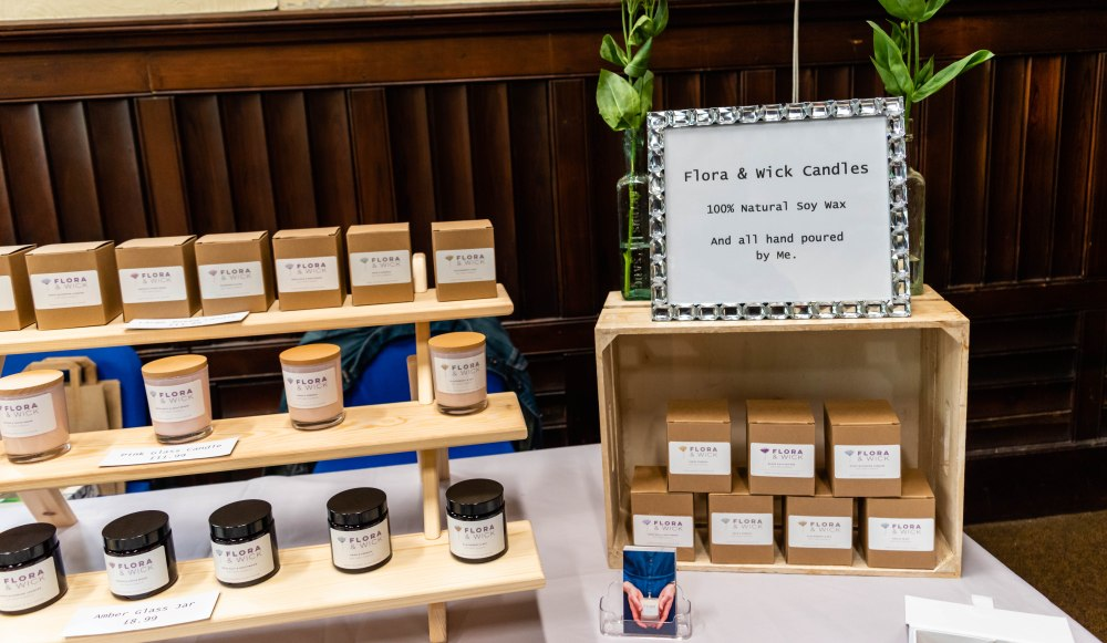 Flora & Wick Candles Stand in Trowbridge Weavers Market: Luxury hand-poured soy wax candles
