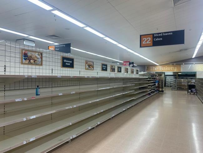 Empty shelves in Sainsbury's grocery
