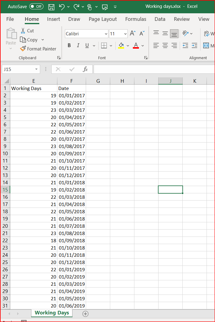 Data source in xls or csv